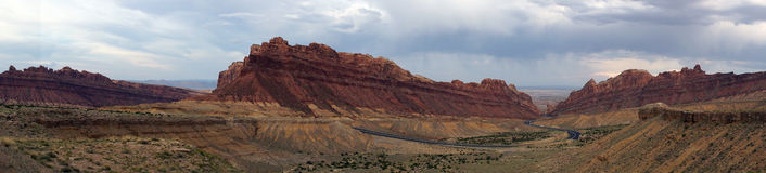 Panoramic of Road winds through Spotted Wolf Canyon with dramati Stock Photo