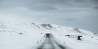 Panoramic, on the road at winter, in the snow storm royalty free stock images