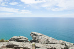 Panoramic rock Lookout over ocean Stock Photos