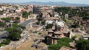 Panoramic Roman Forum. 180 degrees panoramic aerial view of the Basilica Ulpia,colosseum and Foro di Traiano, Roman Forum, in Rome, Lazio, Italy stock video