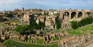 Panoramic roman ruins royalty free stock photos
