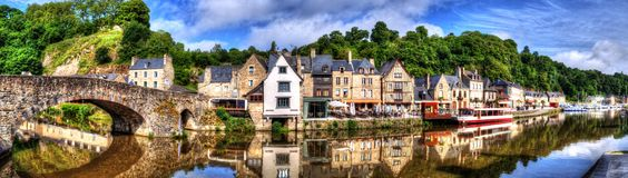 Panoramic romantic view on old port Dinan Cotes-d`Armor, Brittany, France royalty free stock image