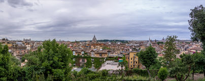 Panoramic Rome aerial cityscape view from Pincian Hill - Rome, Italy Royalty Free Stock Photo