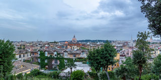 Panoramic Rome aerial cityscape view from Pincian Hill at sunset - Rome, Italy Stock Images
