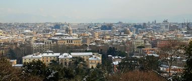 Panoramic of rome under snow Royalty Free Stock Photos