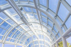 Panoramic Roof Made of White Bended Tubes Royalty Free Stock Photo