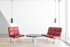 Panoramic room with red armchairs. Panoramic room with white walls, a wooden floor and two red armchairs standing near a round coffee table. 3d rendering mock up Stock Photos