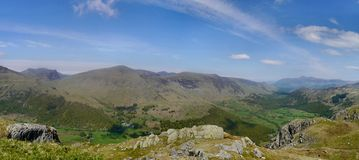 Panoramic from Rosthwaite Fell over The Combe Royalty Free Stock Photos
