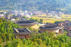 The panoramic of the round Hakka earth building royalty free stock images