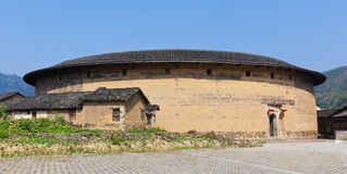 The panoramic of the round Hakka earth building stock photography