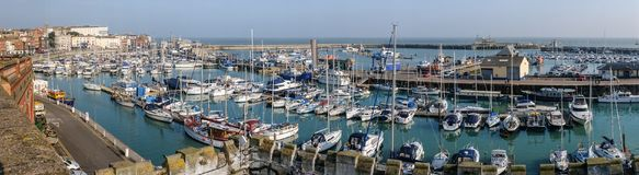 Panoramic of the Royal Harbour of Ramsgate. Panoramic image of the impressive and historic Royal Harbour of Ramsgate, Kent, Uk. The marina was given its royal Royalty Free Stock Photos