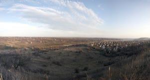 Panoramic rural evening landscape Stock Photos