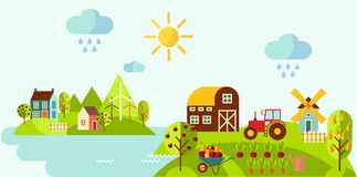 Panoramic rural landscape with gardening concept. Landscape with a garden, various plants, trees, mill, barn,tractor in flat style Stock Photography