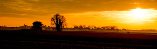 Panoramic rural landscape. Scenic view of a panoramic rural sunset with golden cloudscape in the background, Lincolnshire, U.K Royalty Free Stock Images