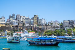 Panoramic of Salvador de Bahia from Todos los Santos bay Stock Photo