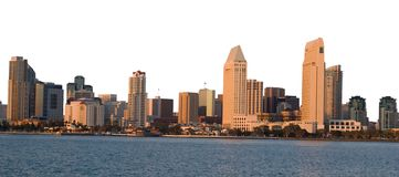 Panoramic of San Diego. Panoramic view of the city of San Diego in southern California. Sky Removed leaving a white background that can be easyly replaced. ( royalty free stock photography