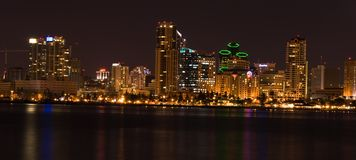 Panoramic of San Diego (night). Panoramic view of the city of San Diego in southern California at night stock photos