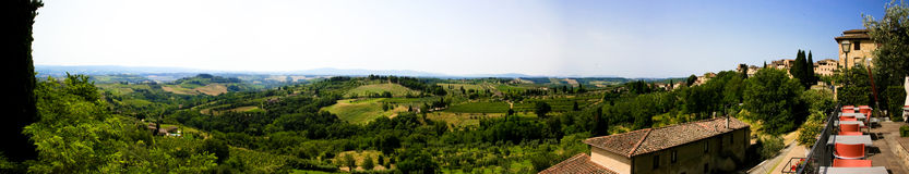 Panoramic San Gimignano Italy Stock Photography