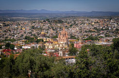 Panoramic San Miguel de Allende, Mexico. Panoramic view of San Miguel de Allende, in central Mexico, a city which is very popular with tourists from around the royalty free stock image