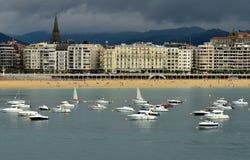 San Sebastian beach, Spain. Panoramic of San Sebastian, Spain Stock Photo