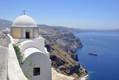 Panoramic of Santorini Caldera Stock Photography