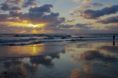 Panoramic scene of ocean sunset with clouds reflected on wet beach and person wading. A beautiful panoramic scene of a sunset creating drama in the sky with Royalty Free Stock Images