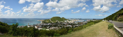 Panoramic scenery from Saint Maarten in the Caribbean Royalty Free Stock Images