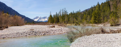 Panoramic scenery - source of river isar, riverbed in the wilder Royalty Free Stock Images