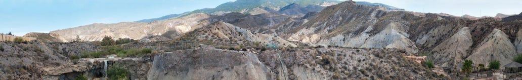 Panoramic scenic desert landscape in Tabernas Royalty Free Stock Image