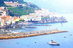 Panoramic scenic view of Amalfi Coast, Campania, Italy, in summer with traditional Italian architecture, beautiful bl. Panoramic scenic view of Amalfi Coast royalty free stock image