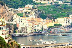 Panoramic scenic view of Amalfi Coast, Campania, Italy, in summer with traditional Italian architecture, beautiful bl. Panoramic scenic view of Amalfi Coast stock photo