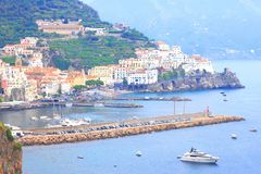 Panoramic scenic view of Amalfi Coast, Campania, Italy, in summer with traditional Italian architecture, beautiful bl. Panoramic scenic view of Amalfi Coast stock photography