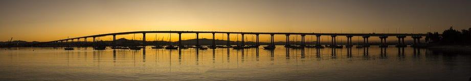 Panoramic scenic view of San Diego - Coronado Bay Bridge at sunr Royalty Free Stock Image