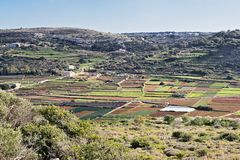 Panoramic scenic view of typical winter Malta fields. Top view Royalty Free Stock Photos