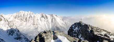 Panoramic scenic view of winter mountains in High Tatras, Slovak Royalty Free Stock Photo