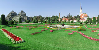 Panoramic of Schonbrunn gardens Royalty Free Stock Photos