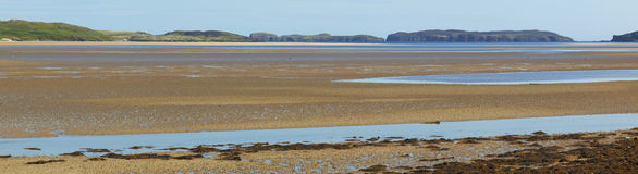 Panoramic scottish landscape with estuary in Highlands. Tongue. Royalty Free Stock Photo
