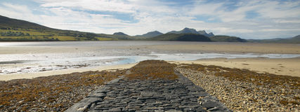 Panoramic scottish landscape with river and mountains in Highlan Stock Photos