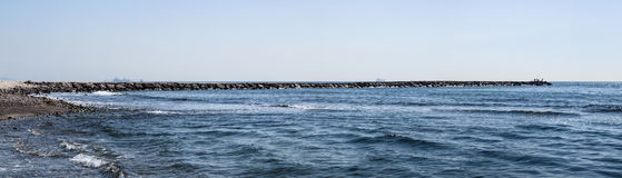 Panoramic sea dike Stock Photography