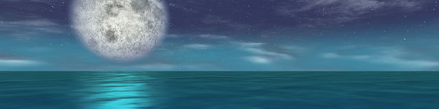 Panoramic sea moon night. Background of computer generated sea with moon Stock Photo