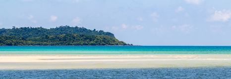 Panoramic sea and mountain landscapes, beaches, water sports on the island. Stock Photography