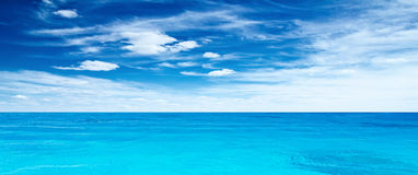 Panoramic sea. Tropical horizontal composition Royalty Free Stock Photos