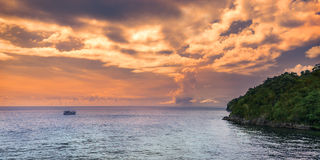 Panoramic sea view at afternoon in Trinidad and Tobago island Stock Photos