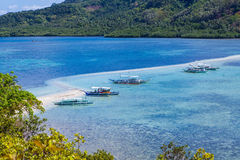 Panoramic sea view with boats Stock Photography