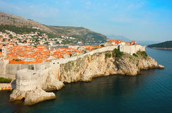 Panoramic sea view of old Dubrovnik with the bay and the city wa Stock Image