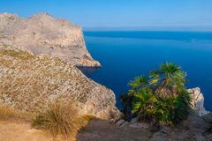 Panoramic sea view. Sea view photographed from view point above a town called Port de Pollenca at the north coast of Mallorca Stock Photo