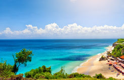 Panoramic sea view with picturesque beach Royalty Free Stock Photography