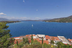 Panoramic sea view from Poros island, Greece Royalty Free Stock Photography