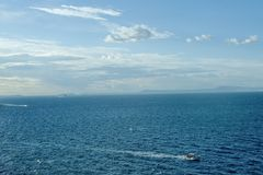 Panoramic sea view from Sorrento, Italy. Travel destination stock photography