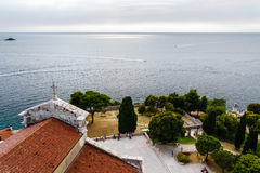 Panoramic sea views from the bell tower Church of St. Euphemia in the old town of Rovinj, Croatia Royalty Free Stock Image